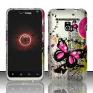 Hard Plastic Rubber Feel Design Case for LG Revolution 4G VS910 - Silver and Pink Butterfly