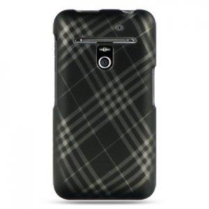 Hard Plastic Rubber Feel Design Case for LG Revolution 4G VS910 - Smoke Diagonal Check