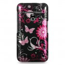 Hard Plastic Design Case for LG Revolution 4G VS910 - Pink Butterfly
