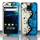Hard Plastic Rubber Feel Design Case for LG Optimus G2x - Silver and Blue Vines