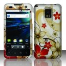 Hard Plastic Rubber Feel Design Case for LG Optimus G2x - Red and Gold Flowers
