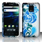 Hard Plastic Rubber Feel Design Case for LG Optimus G2x - Blue and Green Swirls