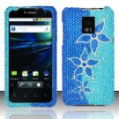 Hard Plastic Bling Rhinestone Design Case for LG Optimus G2x - Blue Flowers