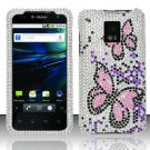 Hard Plastic Bling Rhinestone Design Case for LG Optimus G2x - Silver and Pink Butterfly