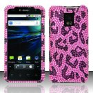 Hard Plastic Bling Rhinestone Design Case for LG Optimus G2x - Hot Pink Leopard