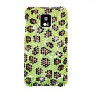 Hard Plastic Bling Rhinestone Design Case for LG Optimus G2x - Green Leopard