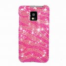 Hard Plastic Bling Rhinestone Design Case for LG Optimus G2x - Hot Pink Zebra