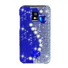 Hard Plastic Bling Rhinestone Design Case for LG Optimus G2x - Blue Pearls and Hearts