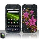 Hard Plastic Bling Rhinestone Design Case for Huawei Ascend M860 - Pink Stars