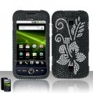 Hard Plastic Bling Rhinestone Design Case for Huawei Ascend M860 - Silver and Black Flower