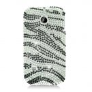Hard Plastic Bling Rhinestone Design Case for Huawei Ascend II M865 - Silver and Black Zebra