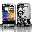 Hard Plastic Rubber Feel Design Case for HTC Wildfire 6225 - Silver and Black Vines