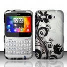 Hard Plastic Rubber Feel Design Case for HTC Status/ChaCha - Silver and Black Vines