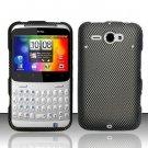 Hard Plastic Rubber Feel Design Case for HTC Status/ChaCha - Carbon Fiber