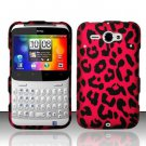 Hard Plastic Rubber Feel Design Case for HTC Status/ChaCha - Hot Pink Leopard