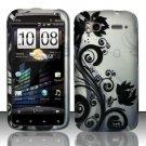 Hard Plastic Rubber Feel Design Case for HTC Sensation 4G - Silver and Black Vines