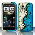 Hard Plastic Rubber Feel Design Case for HTC Sensation 4G - Silver and Blue Vines