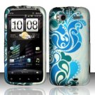 Hard Plastic Rubber Feel Design Case for HTC Sensation 4G - Green and Blue Swirls
