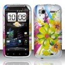 Hard Plastic Rubber Feel Design Case for HTC Sensation 4G - Tropical Flowers