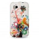 Hard Plastic Rubber Feel Design Case for HTC Sensation 4G - White Autumn Flowers