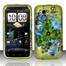 Hard Plastic Rubber Feel Design Case for HTC Sensation 4G - Green Flowers and Butterfly