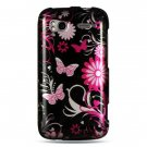 Hard Plastic Design Cover Case for HTC Sensation 4G - Pink Butterfly
