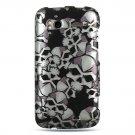 Hard Plastic Design Cover Case for HTC Sensation 4G - Black Skulls