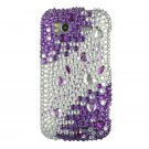 Hard Plastic Bling Rhinestone Design Case for HTC Sensation 4G - Purple and Silver
