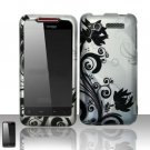 Hard Plastic Rubber Feel Design Case for HTC Merge 6325 - Silver and Black Vines
