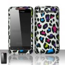 Hard Plastic Rubber Feel Design Case for HTC Merge 6325 - Rainbow Leopard