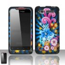 Hard Plastic Rubber Feel Design Case for HTC Merge 6325 - Rainbow Flowers