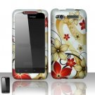 Hard Plastic Rubber Feel Design Case for HTC Merge 6325 - Red and Gold Flowers