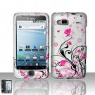 Hard Plastic Rubber Feel Design Case for HTC G2 - Silver and Pink Flowers