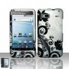 Hard Plastic Rubber Feel Design Case for HTC G2 - Silver and Black Vines
