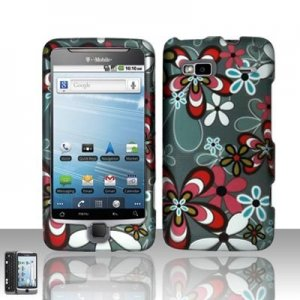 Hard Plastic Rubber Feel Design Case for HTC G2 - Flower Bed