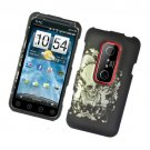 Hard Plastic Rubber Feel Design Case for HTC Evo 3D - Black Skull and Angel
