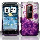 Hard Plastic Design Cover Case for HTC Evo 3D - Purple Flowers and Butterfly