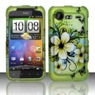 Hard Plastic Rubber Feel Design Case for HTC Incredible 2 6350 - Green Flowers and Butterfly
