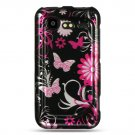 Hard Plastic Design Cover Case for HTC Incredible 2 6350 - Pink Butterfly