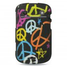 Hard Plastic Rubber Feel Design Case for Blackberry Bold 9900/9930 - Multi Colors Peace Signs