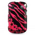 Hard Plastic Design Case for Blackberry Bold 9900/9930 - Hot Pink Zebra and Stars