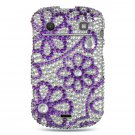 Hard Plastic Bling Rhinestone Design Case for Blackberry Bold 9900/9930 - Purple Lace