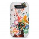 Hard Plastic Rubber Feel Design Case for Blackberry Torch 9850/9860 - White Autumn Flowers