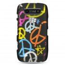 Hard Plastic Rubber Feel Design Case for Blackberry Torch 9850/9860 - Multi Colors Peace Signs