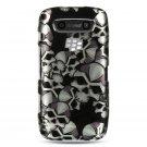 Hard Plastic Design Case for Blackberry Torch 9850/9860 - Black Skulls