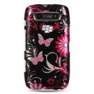 Hard Plastic Design Case for Blackberry Torch 9850/9860 - Pink Butterfly