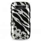 Hard Plastic Design Case for Blackberry Torch 9850/9860 - Silver Zebra and Stars