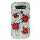 Hard Plastic Bling Rhinestone Design Case for Blackberry Torch 9850/9860 - Silver Ladybugs