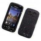 Hard Plastic Bling Rhinestone Design Case for Blackberry Torch 9850/9860 - Black