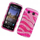 Hard Plastic Bling Rhinestone Design Case for Blackberry Torch 9850/9860 - Hot Pink Zebra